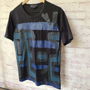 Diesel Black Gold Faux Leather Graphic T-Shirt